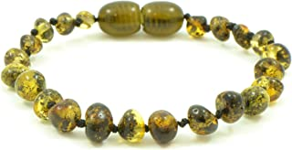 Amber Teething Bracelet/Anklet- 5.5 inches (14 cm) - Dark Green Color - Unisex - Hand-Made from Genuine Baltic Amber Beads (5.5 inches (14 cm), Dark Green) {0016}