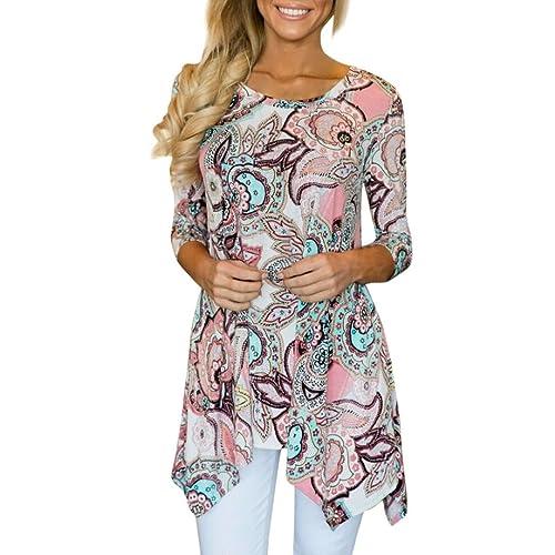 815e314aeef164 TUDUZ Hot Women s Casual Elegant Irregular Printed Long Sleeve Blouse  Fashion Loose T-Shirt Tops