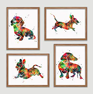 Dachshund Watercolor Poster Set Dog Art Prints Weiner Doxie Dachshund Wall Decor Artworks Sausage Dog Wall Art Dining Room Art Wall Hanging House Warming Gift for Dog Lover