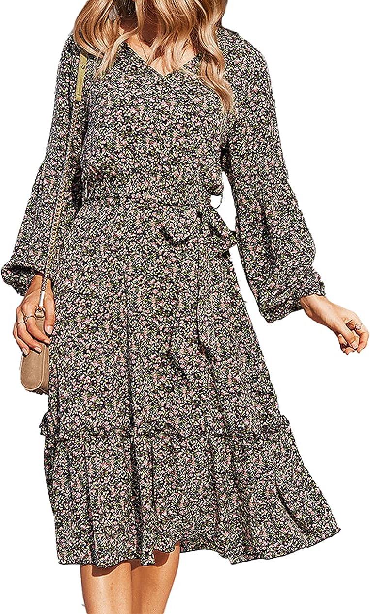 Krisbok Women's Long Sleeve Floral Dresses Tie V Neck Casual Fall Flowy Bohemian Midi Dress with Belt