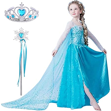 Elsa Kleid Eiskönigin Frozen Kostüm Prinzessin Diadem Karneval Kinder Mädchen