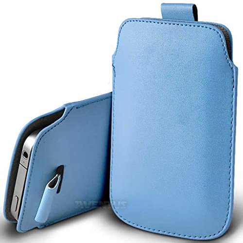 Aventus (Baby Blue) Motorola Moto G5 Plus (2017) Case High Quality Pouch Sleeve Faux Leather Case Cover with Pull Tab Cord Slip In