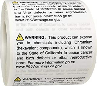 California Proposition 65 Exposure to Chromium Warning Labels 1 x 2 inch 500 Adhesive Stickers