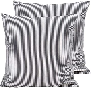 Hoplee Ticking Stripe Pillow Cover Black Stripe Decorative Pillow Covers Set of 2