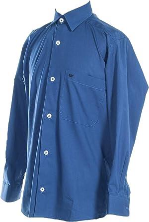 Camisa Lisa Niño Blanca de Tejido Popelina con Licra, Camisa Vestir Niño Manga Larga con Bolsillo Delatero. 100% Algodón Ocasiónes Formales e Informales