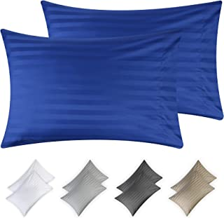 California Design Den Hotel Quality 500 Thread Count Real Blue Color Dobby Damask Stripe Standard Size Cotton Pillow Cases, Long-Staple Combed Natural Cotton Pillow Covers for Bed Pillows for Sleeping
