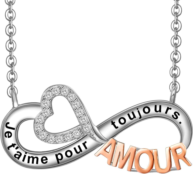 LOVORDS Collier Femme Grav/é en Argent 925//1000 Pendentif Infini et C/œur Cadeau Amoureux pour Elle M/ère Maman Mamie Fille