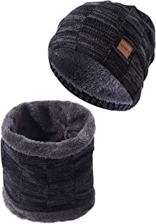 Winter Beanie Hats for Men with Knitted Neck Warmer for Winter Outdoor Sports Sets