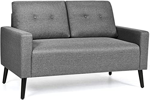 """popular Giantex Modern Loveseat Sofa, 55"""" Upholstered Sofa popular Couch sale w/Soft Cushion, Rubber Wooden Legs, Button Tufted Back, Small Space Configurable Couch for Living Room (Gray) outlet sale"""