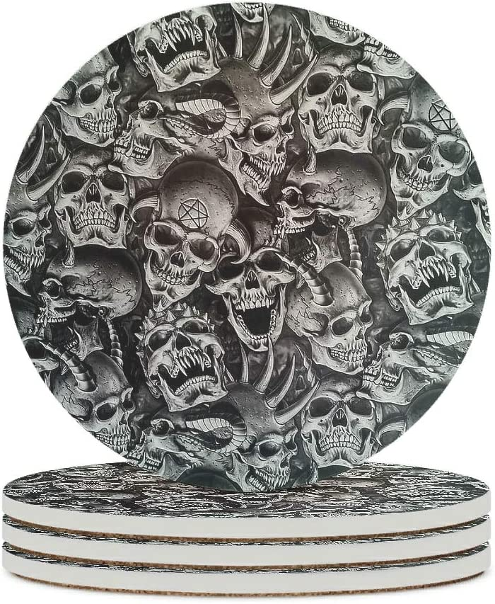 Alskyonyg Devil Fashion Deluxe Skull Ceramic Coaster Wa Backing Cork Round with