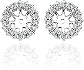 1.20 Carat G-H Diamond Halo Solitaire Stud Earrings Jackets 14K White Gold For 7 MM(3.00 Carat Earrings)