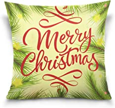 """MASSIKOA Merry Christmas Lettering with Fir Sprigs Decorative Throw Pillow Case Square Cushion Cover 20"""" x 20"""" for Couch, ..."""