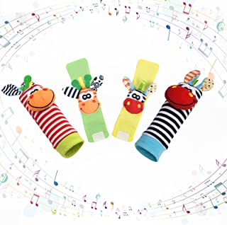 Vicloon Baby rammelaar sokken polsband rammelaars set, 4 stuks voetzoekers & pols rammelaars voor baby's, Baby rammelaar s...
