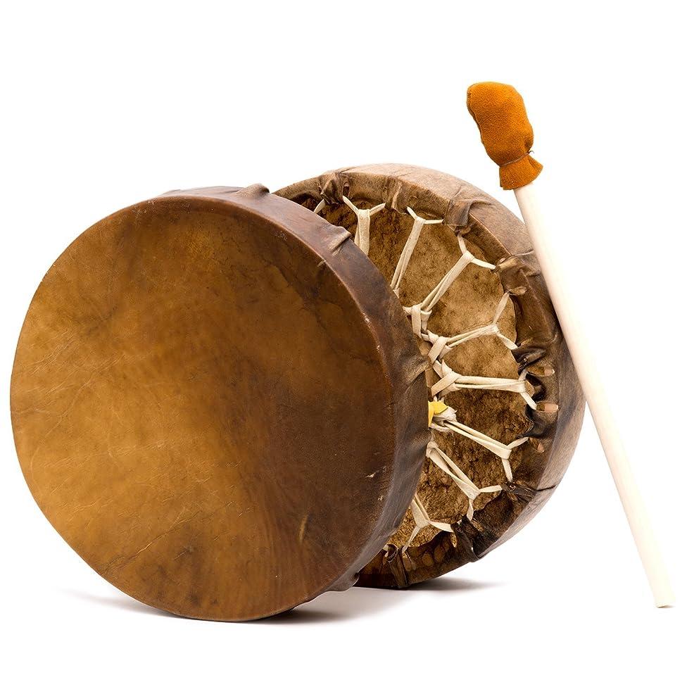 呼び起こすコロニアル私たち自身Shamans Market ネイティブアメリカンスタイル バッファローハイドフレーム ハンドドラム 15インチ