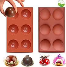 LEVEXUS 6 Holes BPA Free Chocolate Bomb Mold Cake Jelly Pudding Dome Mousse Ice Cream Soap 2 PACK Sphere Silicone Molds No...