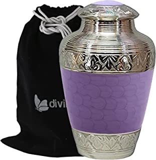 Solid Brass Athens Purple Cremation Urn - Adult Purple Funeral Urn Handcrafted - Affordable Urn for Human Ashes - Large Urn Deal