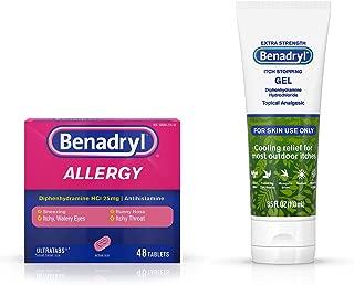 Benadryl Bundle Ultratabs Antihistamine Allergy Medicine, Diphenhydramine HCl Tablets, 48 ct w/Additional Item (See Photo)