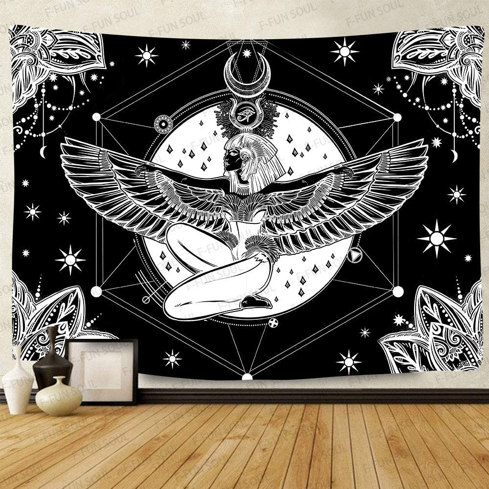 F-FUN SOUL Isis Goddess of Beauty Tapestry, Large 80x60inches Soft Flannel, Egyptian Eyes Hieroglyphs Mandala Flower Art Wall Hanging Tapestries for Living Room Bedroom Decor GTZYFS1100