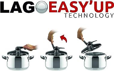 Lagostina Domina Vitamin Lagoeasy'Up Pressure Cooker 7 Litres Stainless Steel 18/15