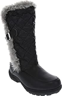 London Fog Womens Lennox Nylon Waterproof Cold Weather Snow Boot