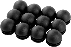 Zaldita 12Pcs Round Plastic Plug Pipe Tubing End Cap Tube Insert Plug Chair Glide Cover Floor Protector for Table Chair Furniture Legs Prevent Scratches and Noise Black 25mm