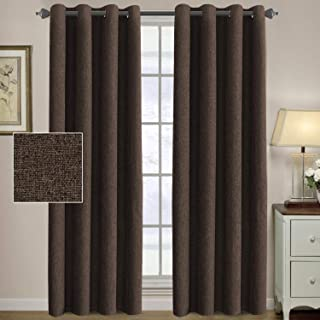 H.VERSAILTEX Linen Curtains 84 Thermal Insulated Energy Efficient Curtains Textured Linen Like Curtain Panels for Bedroom/Living Room Natural Feeling Window Treatment Drapes - Dark Brown (2 Panels)