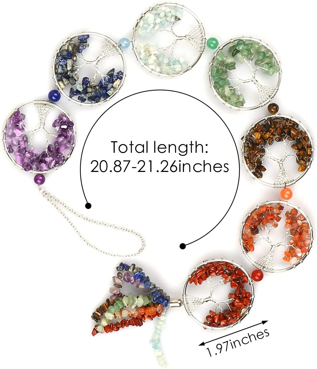 Tumbled Chips Tassel Yoga Meditation Protection Home Wall Decoration for Good Luck Silver WingFly 7 Chakra Stones Reiki Healing Crystals Tree of Life Natural Gemstones Hanging Ornament