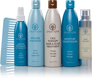 Ovation Hair Holiday Gift Set - Balance System with Cell Therapy - Get Stronger, Fuller & Healthier Looking Hair with Natural Ingredients - Includes Shampoo, Conditioner, Repair Mask, Detangler, Comb