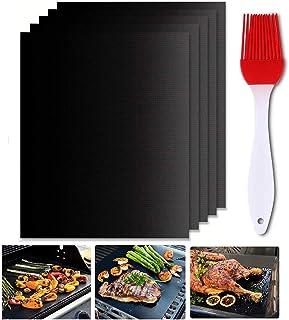 Gyvazla Tapis de Cuisson Barbecue Anti-adhérent et Réutilisable pour les barbecue à gaz, Charbon ou électriques, 40*33 cm,...