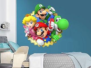 Super Mario Wall Decal. Mario and Luigi Themed Decor. Mario Wall Mural. Peel and Stick. Nursery Bedroom Decor C2138