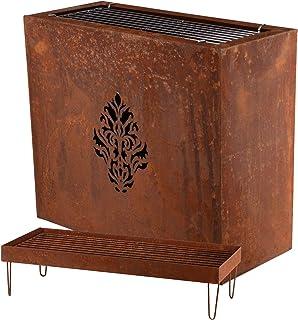RM Design Feuerkorb Grill Blumentopf Kombination aus Edelrost 70 cm Deko für Ihren Garten