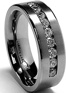 8 MM Men's Titanium ring wedding band with 9 large Channel Set Cubic Zirconia CZ sizes 6 to 15