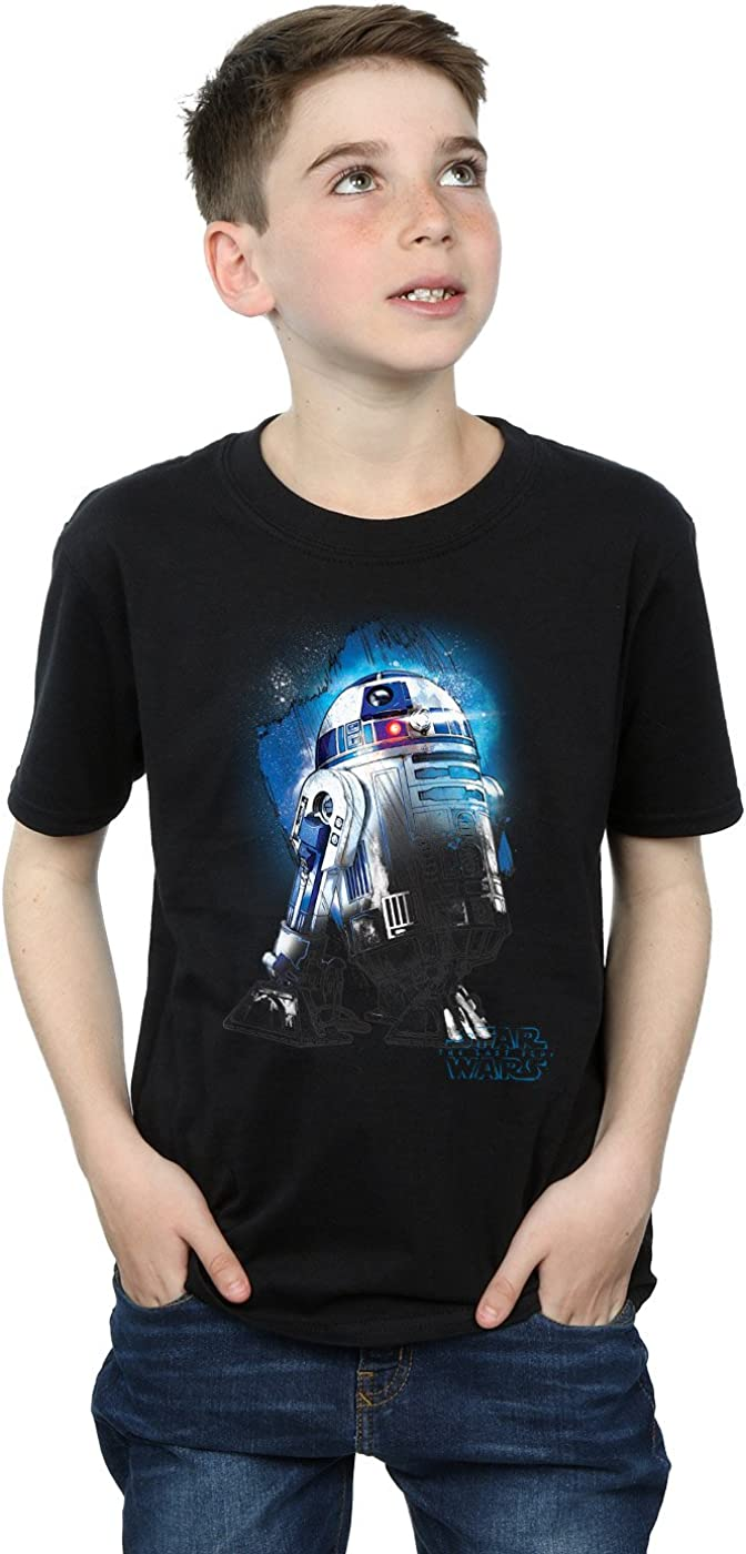 STAR WARS Boys The Last Jedi R2-D2 Brushed T-Shirt 5-6 Years Black