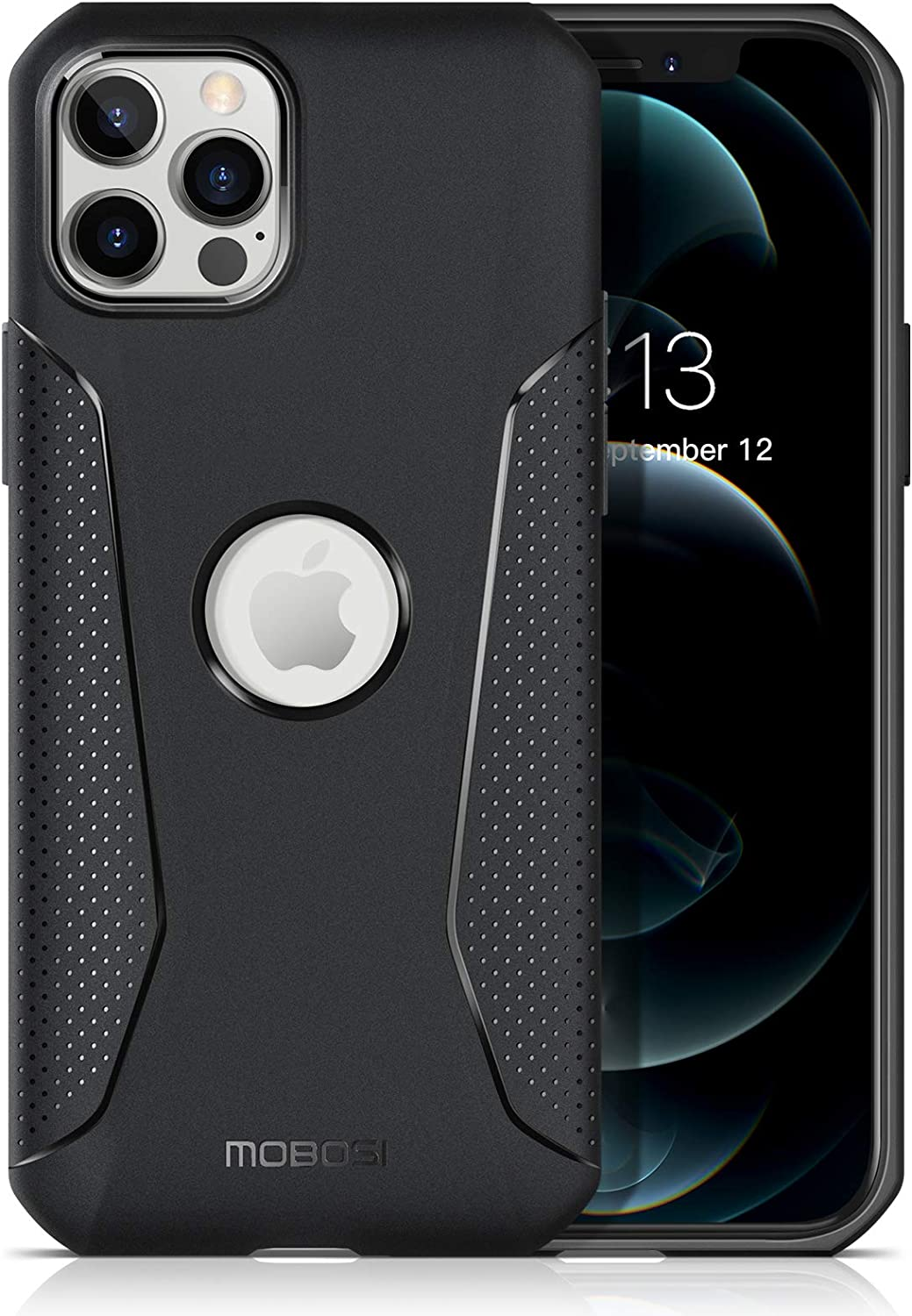 MOBOSI Shockproof Case Compatible with iPhone 12/iPhone 12 Pro, Shock Absorbing Bumpers, Slim Lightweight Soft Durable TPU Cell Phone Cover Case 6.1 Inch (2020) - Matte Black