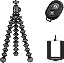 Joby New GorillaPod Hybrid For Compact Cameras Tripod with Ivation Wireless Bluetooth Camera Shutter Remote Control for Apple and Android Phones and Ivation Universal Tripod Mount for Smartphones