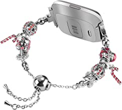 TOYOUTHS Christmas Bracelet Compatible with Fitbit Versa Bands Dressy Metal Wristbands Replacement for Versa Lite Special Edition Holiday Strap Accessories Bangle with Mixed Beads Santa Tree Theme