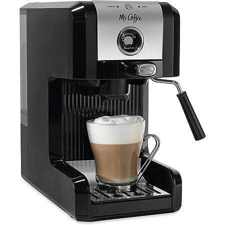 Mr. Coffee Easy Maker | Authentic Pump Espresso Machine, 6 Piece, Chrome/Black