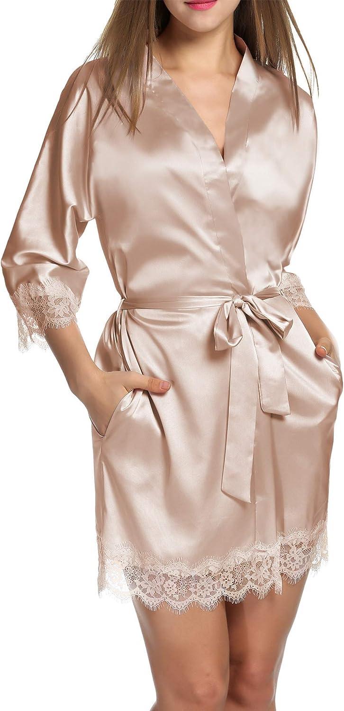 Hotouch Satin Rrobes for Women Silk Bathrobe Short Kimono Robes with Oblique V-Neck Bridesmaid Wedding Party Dressing Gown