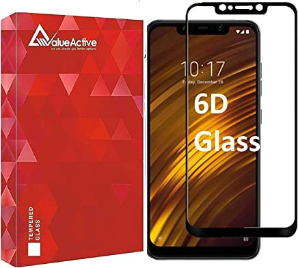 VALUEACTIVE Accessories For All Tempered Glass for Poco F1 (Black) Edge to Edge Full Screen Coverage with easy installation kit