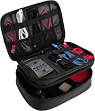 ProCase Electronics Travel Organizer Storage Bag, Double Layer Universal Traveling Gear Accessories Carrying Case Pouch for iPad Mini Cables Phone Chargers Adapter Flash Hard Drive and More –Black
