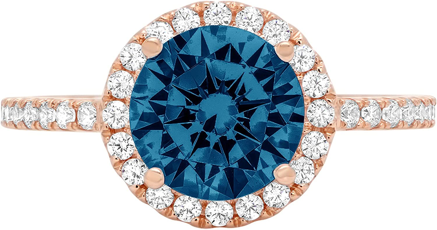 1.85ct Brilliant Round Cut Solitaire halo Genuine Flawless Natural London Blue Topaz Gemstone Engagement Promise Anniversary Bridal Wedding Accent Ring Solid 18K Rose Gold