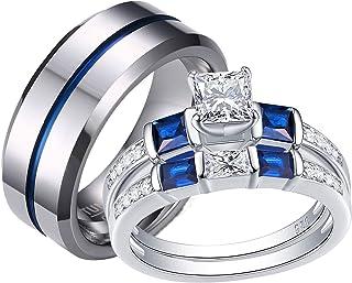 Wuziwen زوجين خاتم الزفاف مجموعة النساء الزفاف خواتم الخطوبة لديه لديه كربيد التنجستن خاتم الزفاف