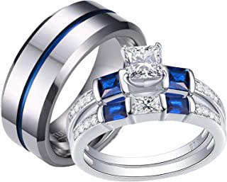 Wuziwen Couple Ring Bridal Set Women Wedding Engagement Rings His Hers Tungsten Carbide Wedding Band