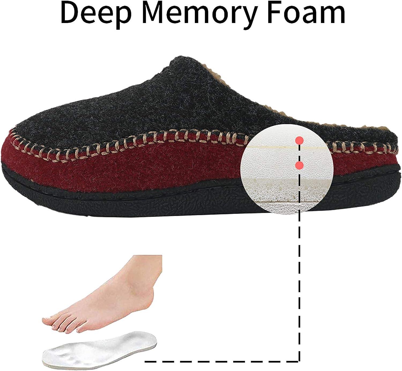 GUMUSSERVI Mens Comfort Memory Foam House Slippers Fleece Lined Slip-on Moccasin Slippers Clog for Indoor /& Outdoor Use