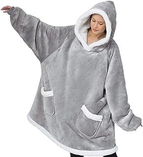 Bedsure Wearable Blanket Hoodie for Women Men Kids - Grey...