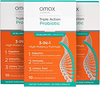 3 Pack Savings: Omax Probiotic + Prebiotic Supplement Pills, 50 Billion CFU, 10 Clinically Studied Strains, Dairy-Free, Ve...