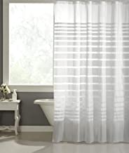 """Homewards PVC Water Repellent White Stripes Shower Curtain with Hooks - 72"""" x 72"""""""