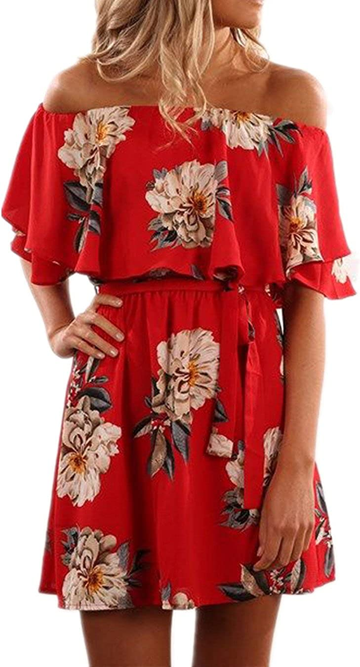 KBOOK Women's Off Shoulder Floral Print Cute Vacation Boho Short Sleeve Casual Mini Party Dress with Belt