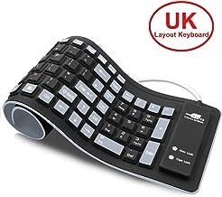 Teclado portátil suave de silicona, teclado USB con cable enrollable, teclado de gel de sílice para ordenador portátil PC o Mac.