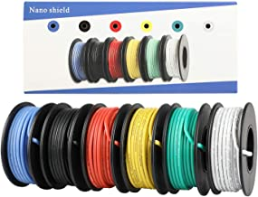 18 AWG UL3132 Hook-up Stranded Wire, 6 Colors (16.5ft Each) Flexible 30 Gauge Silicone Wire Rubber Insulated Electrical Wi...